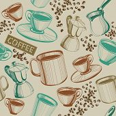 Seamless Hand Drawn Vintage Coffee Pattern