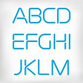 Modern minimal rounded font alphabet;  Sans-serif display elegant light font, vector alphabet letter