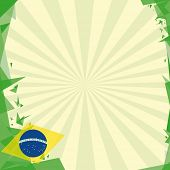 background square origami of brazil. A greeting square card for you.