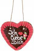 Lebkuchenherz mit ich liebe dich auf Deutsch