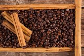 Frame With Coffee Beans And Ceylon Cinnamon