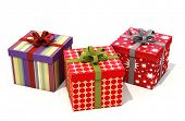 Gifts with ribbons on a light background