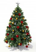 Christmas tree with decorations on light background