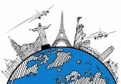 image of continent  - Airplane travel in the world around the global with sketch drawing - JPG