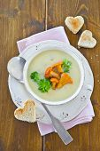 image of chanterelle mushroom  - Creamy mushroom soup with fresh chanterelles and toast - JPG