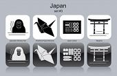 Landmarks of Japan. Set of monochrome icons. Editable vector illustration.