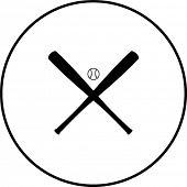 baseball crossed bats and ball