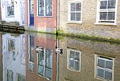 Water canal in the centre of the city Delft