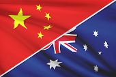 Series Of Ruffled Flags. China And Commonwealth Of Australia.