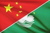 Series Of Ruffled Flags. China And Macao Special Administrative Region Of The People's Republic Of C