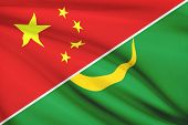 Series Of Ruffled Flags. China And Islamic Republic Of Mauritania.