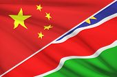 Series Of Ruffled Flags. China And Republic Of Namibia.