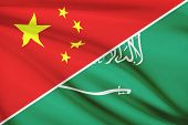Series Of Ruffled Flags. China And Kingdom Of Saudi Arabia.