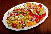 plate of sliced vegetables