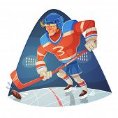Hockey player. Vector image