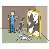 An image of man cleaning up mess from a broken mirror.