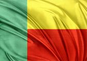 Closeup of silky Benin flag