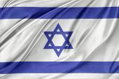 Closeup of silky Israeli flag
