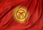 Closeup of silky Kyrgyzstan flag