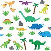 Seamless retro pixel game dinosaur pattern