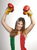 Success Woman Celebrating For Her Succes With The Flag Of Italy On Her Shirt