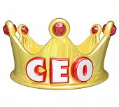 CEO word acronym gold crown executive position ruler