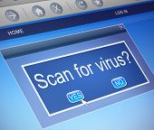 foto of virus scan  - Illustration depicting a computer dialogue box with a virus scan concept - JPG