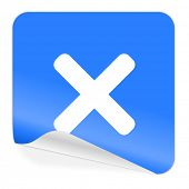 cancel blue sticker icon
