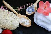 Natural Luffa Sponge , Spa Salt And White Towel