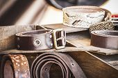 Store handmade  leather belts, spanish medieval fair, couro