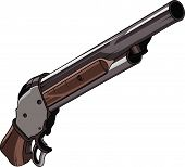 stock photo of shotguns  - classic hunter shotgun made of wood and metal art and illustration - JPG