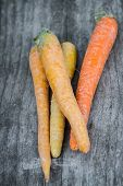 picture of end rainbow  - four rainbow carrots grouped over an old wooden board - JPG