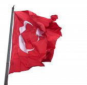 Waving Flag Of Turkey With Flagpole