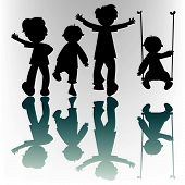 Happy Children Silhouettes poster