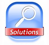solutions button solve problems and search and find a solution icon or sign