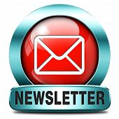 Latest newsletter with hot breaking news. Icon, button or sign with new items.