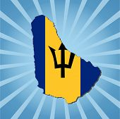 Barbados map flag on blue sunburst vector illustration
