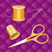 Gold Sewing Set, antique scissors, lavender quilted background