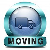 Moving or relocation icon a van or truck to relocate to other house or location a button or icon