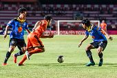 Sisaket Thailand-may 21: Gorka Jose Unda Velasco Of Sisaket Fc. Runs For The Ball During Thaicom Fa