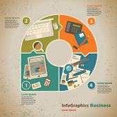 Template For Infographic With Symbol Of The Business Process In Vintage Style