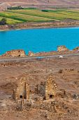 stock photo of euphrates river  - Halabia is situated on the Euphrates as part of the Silk Road network until the downfall of Palmyra following the defeat of queen Zenobia at the hands of the Romans - JPG
