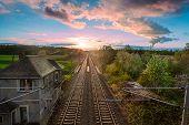 Railway With  Sunrise