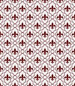 White And Red Fleur-de-lis Pattern Textured Fabric Background