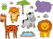 Illustration of Ready to Print Stickers Featuring Different Safari Animals