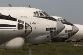 Abandoned airplanes in an aircraft graveyard