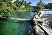 Green Waters Of Rhein On Rheinfall At Neuhausen, Schaffhausen, Switzerland