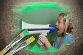Composite image of little girl with bullhorn against weathered surface with paintbrushes