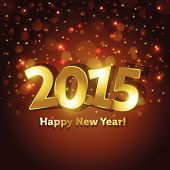 Golden 2015 Happy New Year Greeting Card With Sparking Spot Lights Background poster