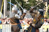 Riga, Latvia - August 21: Two Knights From Historical Reconstruction Club